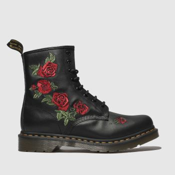 Dr Martens Black & Red 1460 Vonda Womens Boots#
