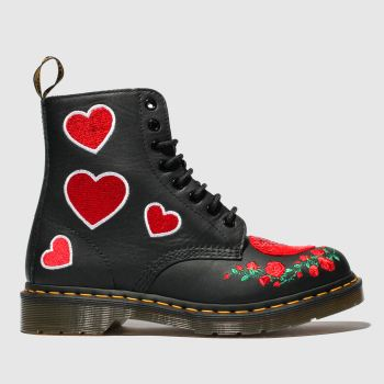 Dr Martens Black & Red 1460 Pascal Hearts Womens Boots
