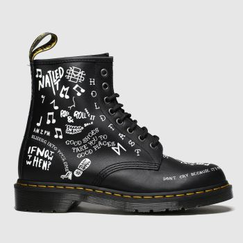 Dr Martens Black & White 1460 Scribble Womens Boots