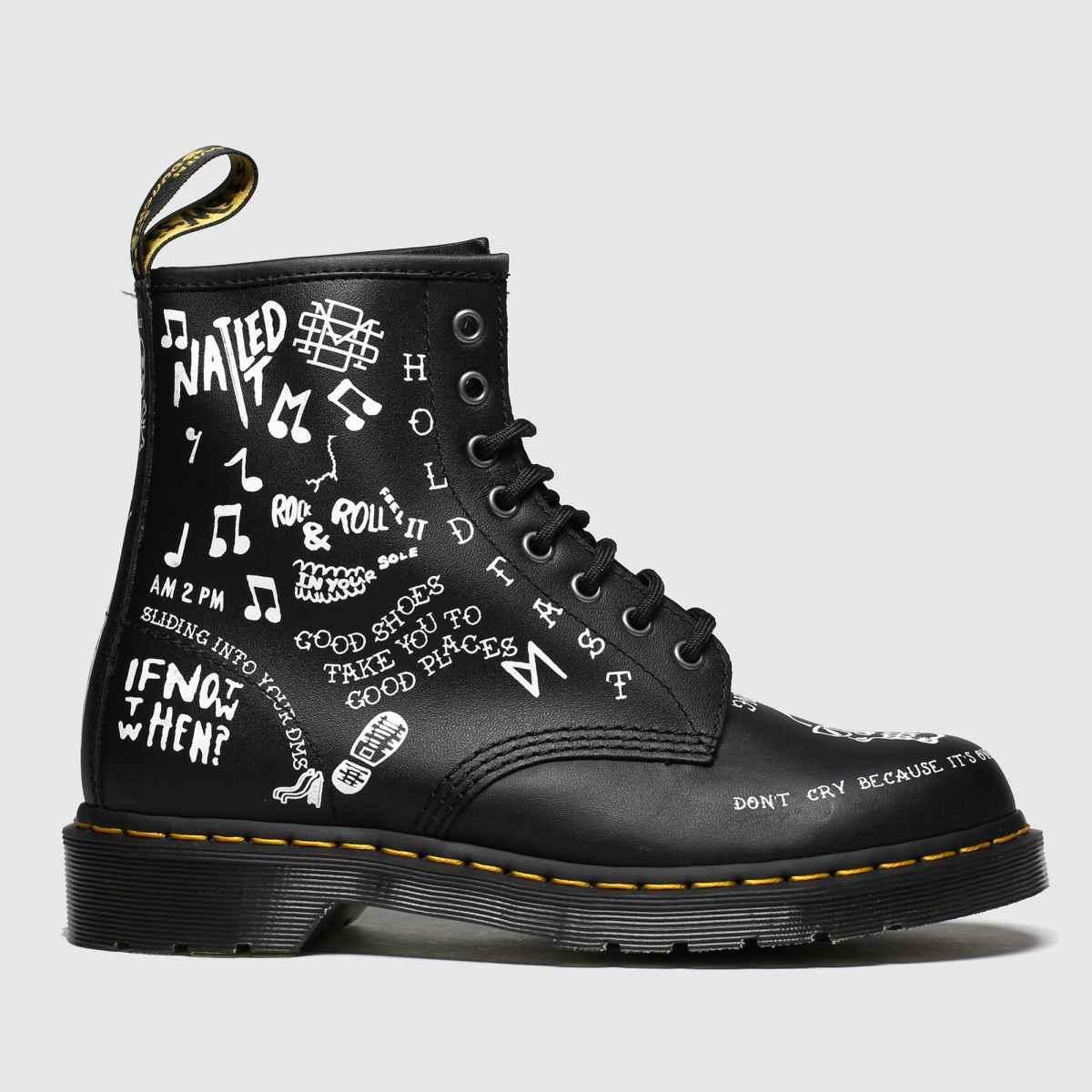 Dr Martens Black & White 1460 Scribble Boots