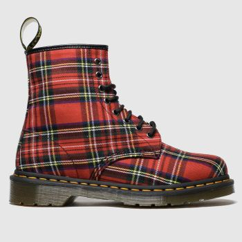 Dr Martens Red 8 Eye Tartan Canvas Womens Boots