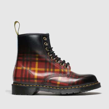 Dr Martens Black & Red 1460 8 Eye Tartan c2namevalue::Womens Boots