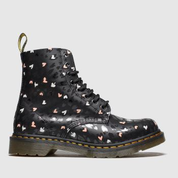 Dr Martens Black & White 1460 Pascal Hearts Womens Boots