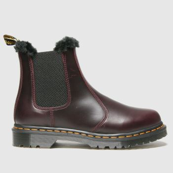 Dr Martens Burgundy Dm Leonore Fur Lined Chelsea Womens Boots