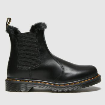Dr Martens Black Leonore Fur-lined Chelsea Womens Boots#