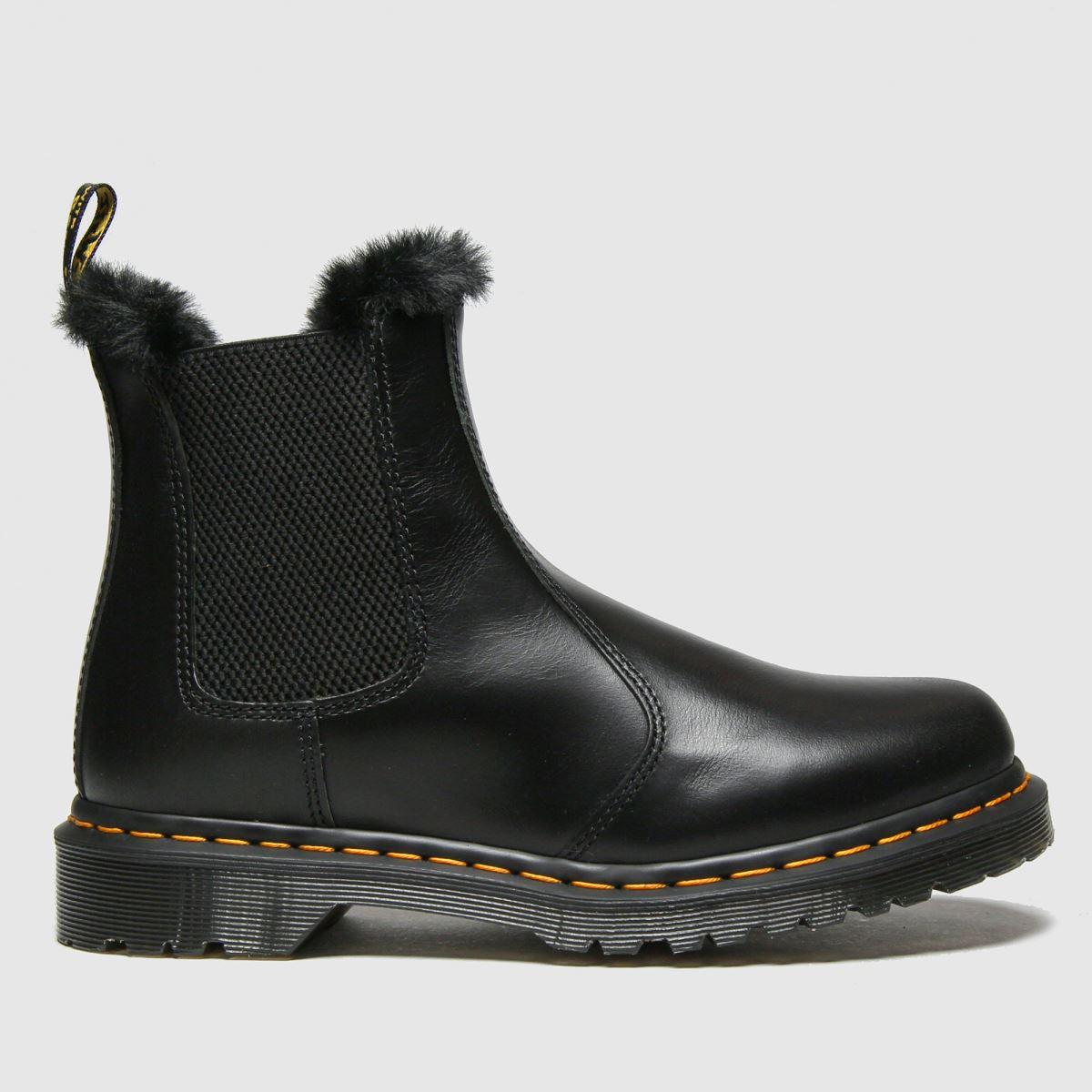 Dr Martens Black Leonore Fur-lined Chelsea Boots