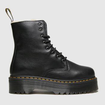 Dr Martens Black Jadon 8 Eye Fur Lined Womens Boots
