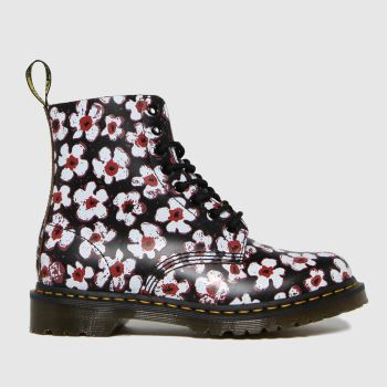 Dr Martens Black & White 1460 Pascal Pansy Fayree Womens Boots