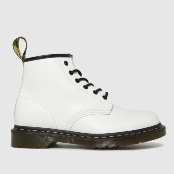 Dr Martens White 101 Yellow Stitch Womens Boots
