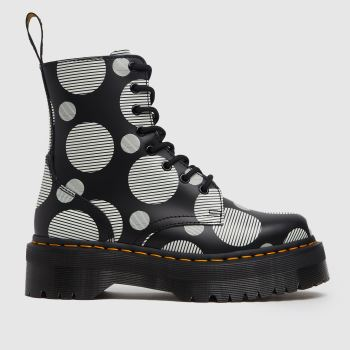 Dr Martens Black & White Jadon Quad Retro Womens Boots
