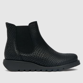 Fly London Schwarz Salve Snake Ankle Damen Boots