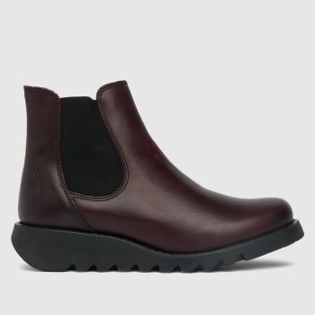 Fly London Burgundy Salv Ankle Womens Boots