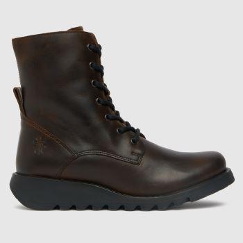 Fly London Braun Sers Lace Up Damen Boots
