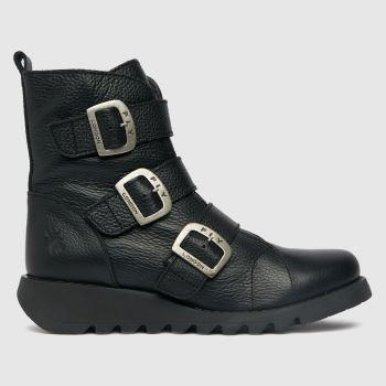 Fly London Black Sach Triple Buckle Womens Boots