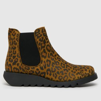 Fly London Black & Brown Fly Salv Leopard Ankle Womens Boots