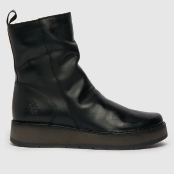 Fly London Black Fly Reno Ruched Womens Boots