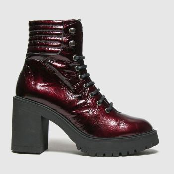 schuh Burgundy Ashton Chunky Leather Lace Up Womens Boots#