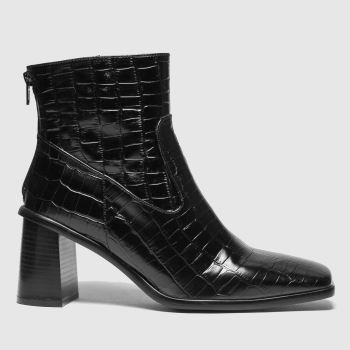 schuh Black Bobby Square Toe Leather Womens Boots