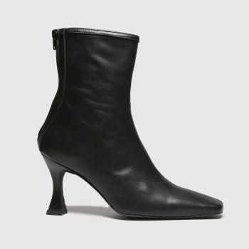 schuh Black Brody Square Toe Leather Womens Boots