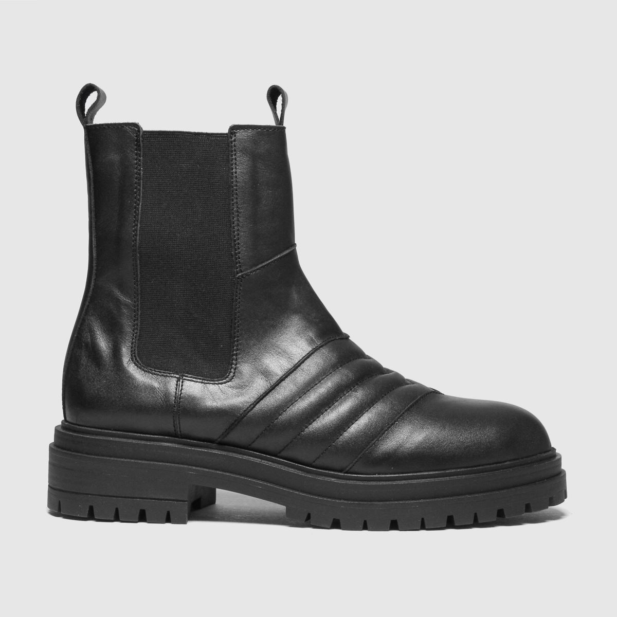 Schuh Black Alana Padded Leather Chunky Boots