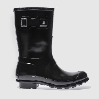 Hunter Black Original Gloss Short Womens Boots#