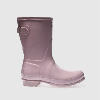 HUNTER PALE PINK BACK ADJUST SHORT GLOSS BOOTS