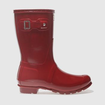 Hunter Rot Original Short Gloss Damen Boots