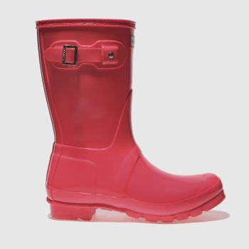 Hunter Pink Original Short Gloss Womens Boots