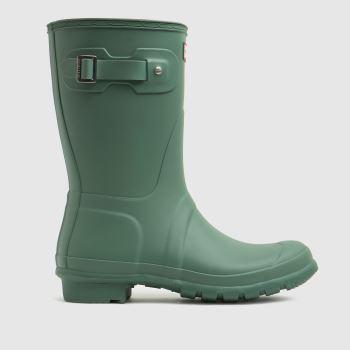 Hunter Light Green Original Short Womens Boots