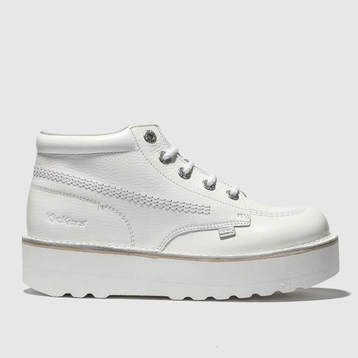 Kickers White Kick Hi Stack Flat Shoes