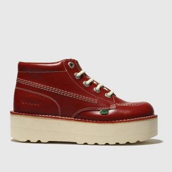kickers red kick hi stack flat shoes