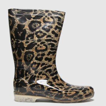 schuh Beige & Brown Wendy Leopard Wellington Womens Boots#