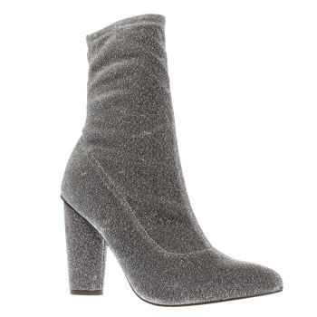 Missguided Silver Glitter Sock Boot Womens Boots