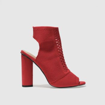 MISSGUIDED RED PEEP TOE KNITTED BOOTS