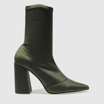 Missguided Khaki Flared Heel Sock Womens Boots
