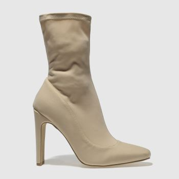 MISSGUIDED NATURAL SQUARE TOE ANKLE SOCK BOOTS