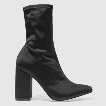 Missguided Black Block Heel Sock Womens Boots