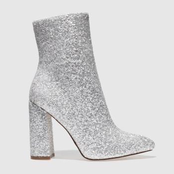 Missguided White Flared Glitter Womens Boots