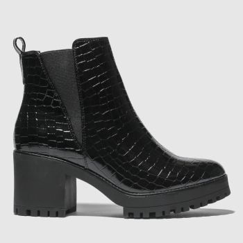 Missguided Black Croc Chelsea Chunky Ankle Womens Boots