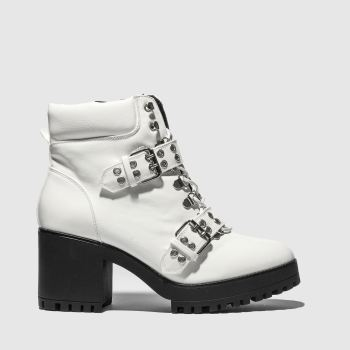 Missguided White Chunky Sole Double Strap Biker Womens Boots