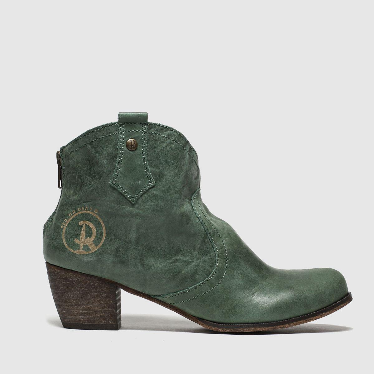 Red Or Dead Dark Green Mountain Fleece Boots