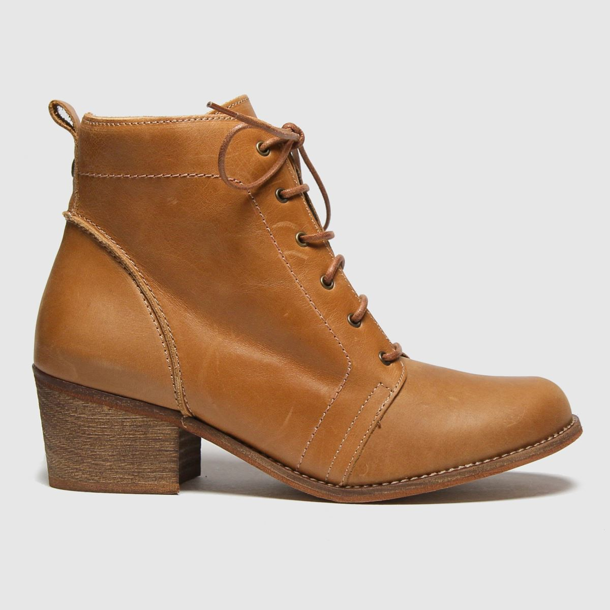 RED OR DEAD Tan Rod Revision Leather Lace Up Boots