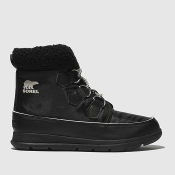 Sorel Black Explorer Carnival Womens Boots