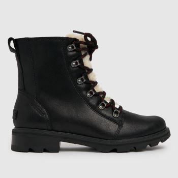 SOREL Black Lennox Lace Cozy Wp Womens Boots