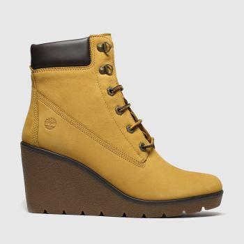 Timberland Tan Paris Height Wedge Womens Boots