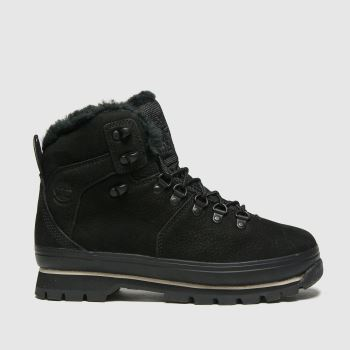Timberland Black Euro Hiker Warm Lined Womens Boots#