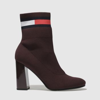 Tommy Hilfiger Burgundy Tj Sock Heeled Boot Womens Boots
