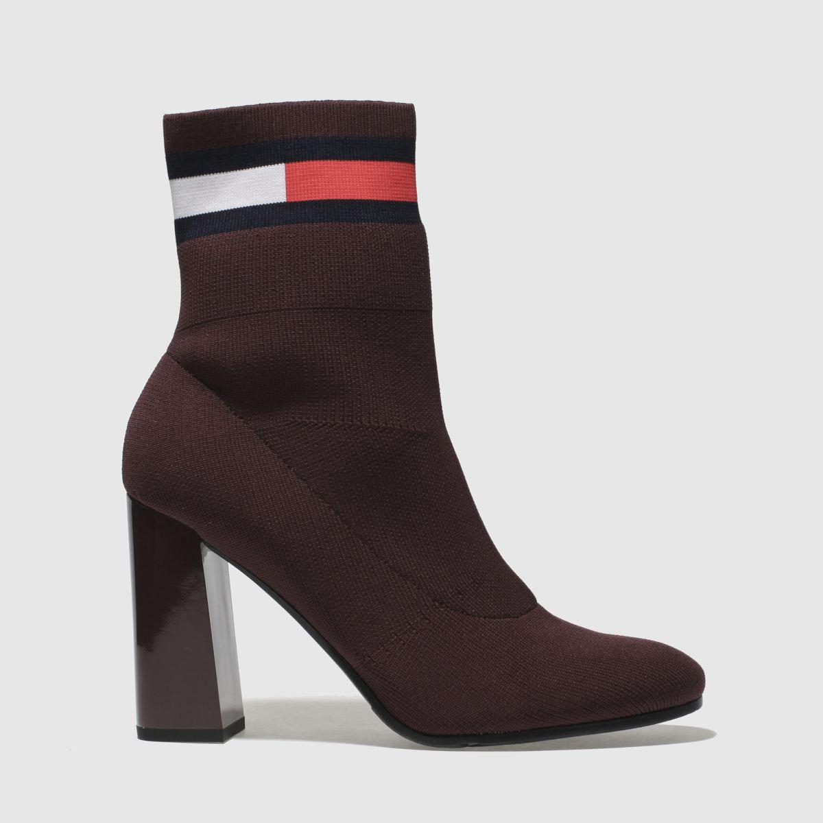 Tommy Hilfiger Burgundy Tj Sock Heeled Boot Boots