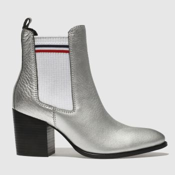 Tommy Hilfiger Silver Tj Sock Shiny Mid Heel Chunky Womens Boots