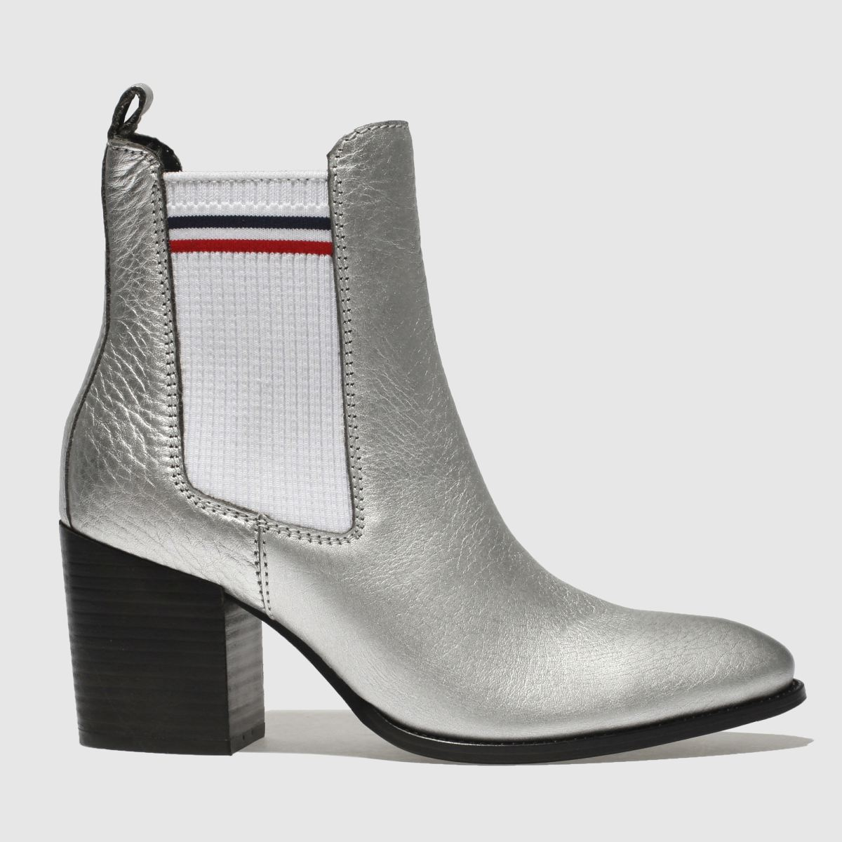Tommy Hilfiger Silver Tj Sock Shiny Mid Heel Chunky Boots
